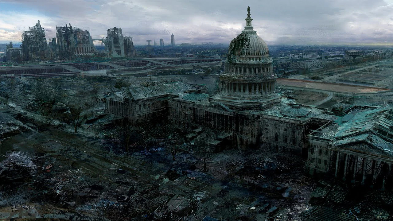 The US Capitol as seen in Fallout 3, broken and decaying.