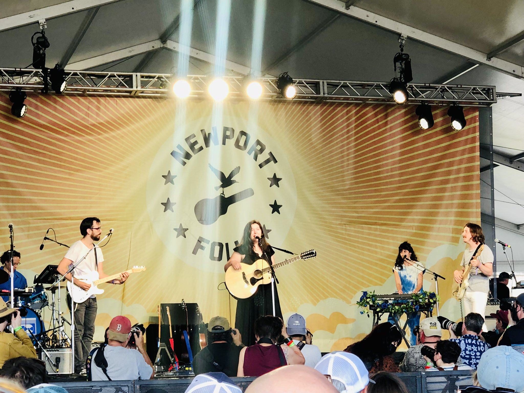 Musicians on stage at the Newport Folk Festival