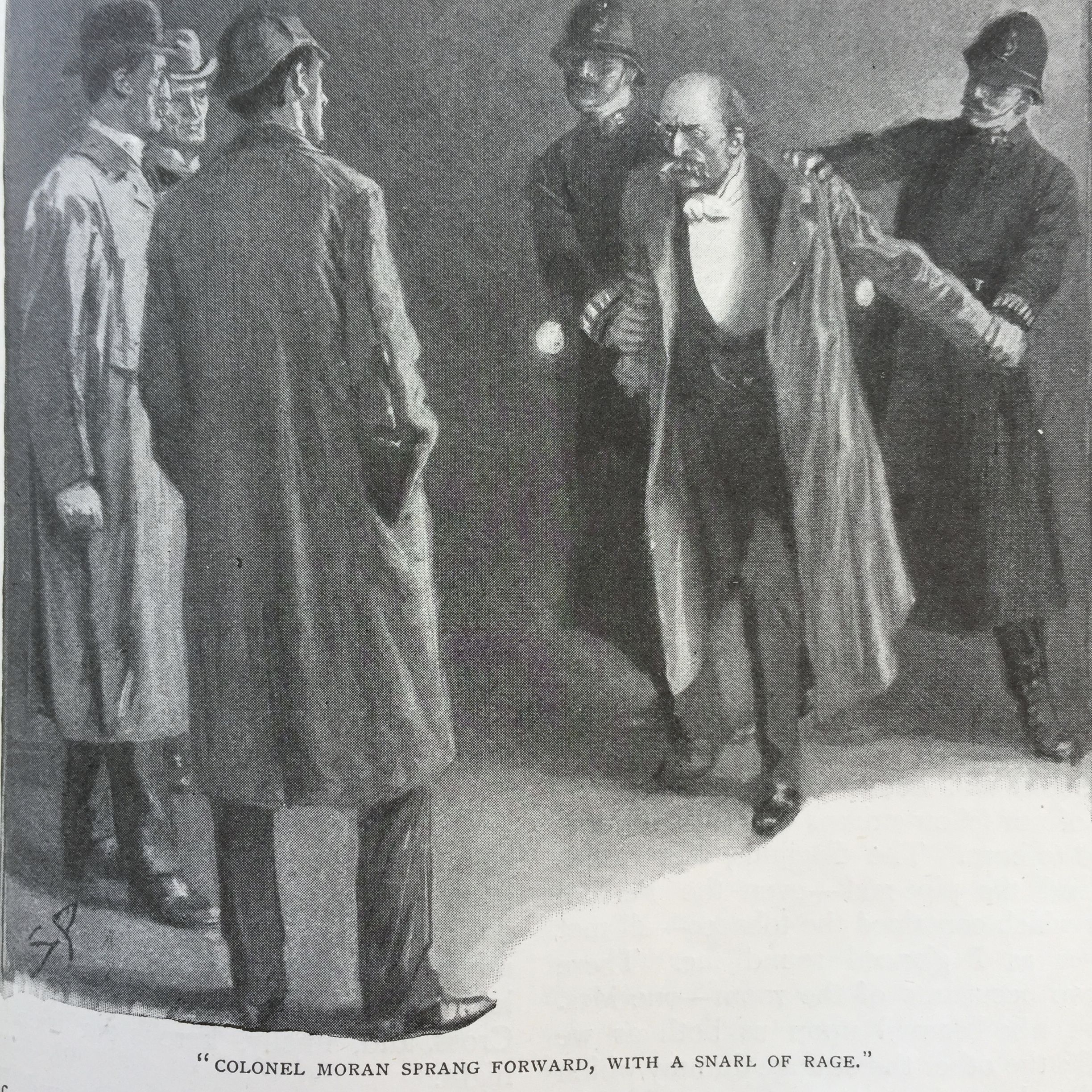 A black and white imagine of Colonel Sebastian Moran being arrested.