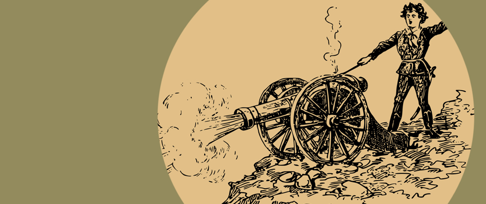 A black and tan image of someone firing a canon.