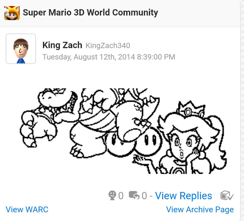 A comment on the Super Mario 3D World Community from King Zach (August 12). The image is of several stamps, featuring Bowser, Princess Peach and the two cherries powerup made to look like the two cherries are Bowsers balls, being fondled by a shocked Princess peach.