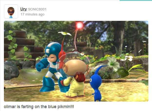 """An image from user Ury that shows characters from Pikmin and Megaman and the comment """"olimar is farting on the blue pikmin!!!"""""""