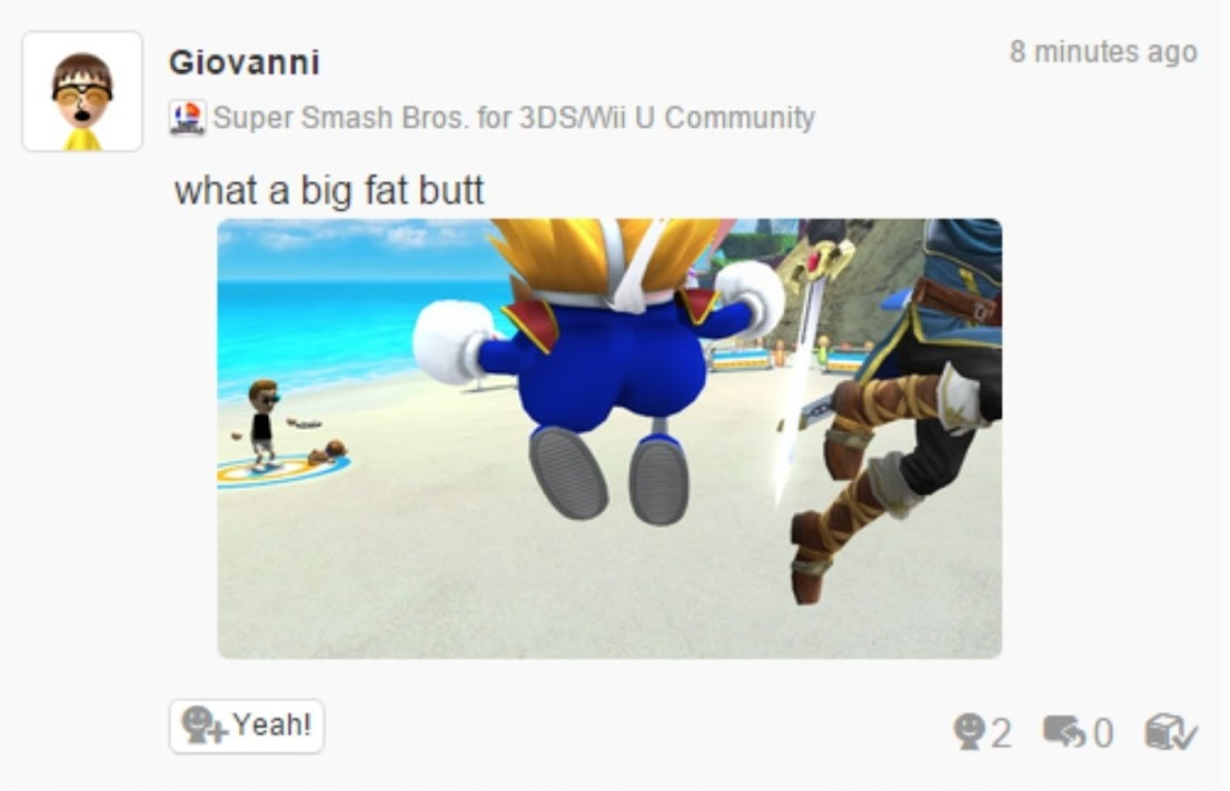 """A comment from Giovanni in the Super Smash Bros for 3DS/Wii U Community that shows a character in blue trousers. The text reads """"what a big fat butt."""" It does, indeed, have a fat butt."""