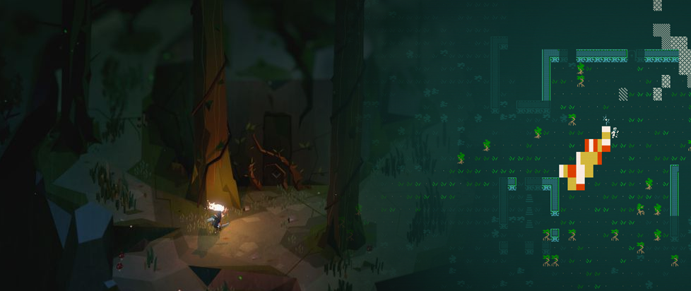 Two images - one of a character running into a forest, from the game Below, merged with an image of ASCII art from the game Caves of Qud.